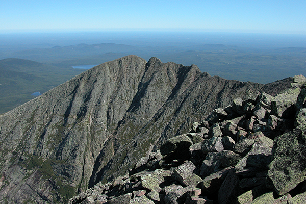 view of the Knife Edge & Pamola Peak from Katahdin/Baxter Peak
