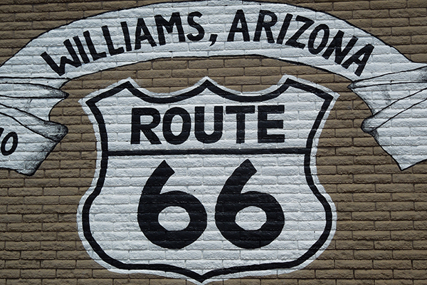 Route 66 sign in the town of Williams