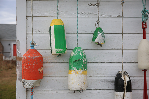 buoys are frequently seen along the coastal towns of Maine