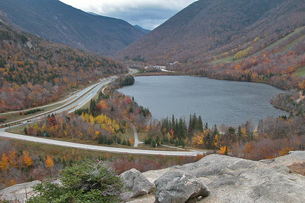 view of Franconia Notch State Park from Artists Bluffs