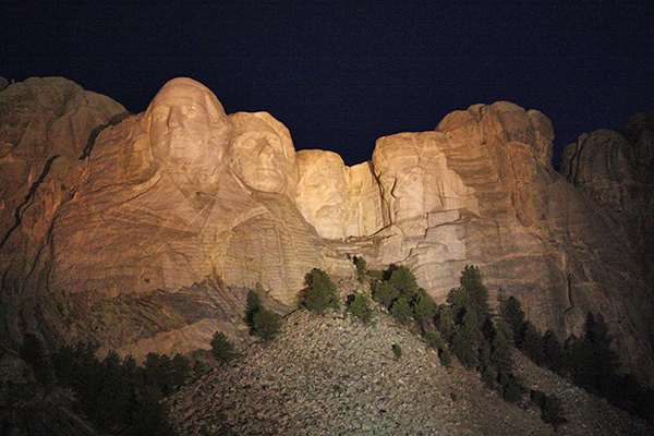 Mount Rushmore, South Dakota at night