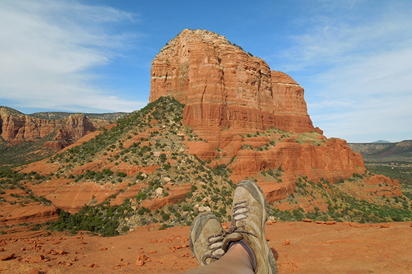 a scramble up Bell Rock in Sedona lands you these views
